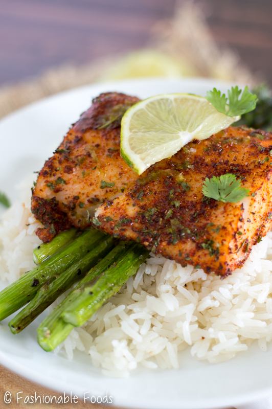Roasted chili lime cod for Summer fish and rice