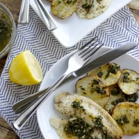 Tilapia with Grilled Potatoes and Chimichurri Sauce