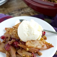 Nutty Pear and Cranberry Crisp