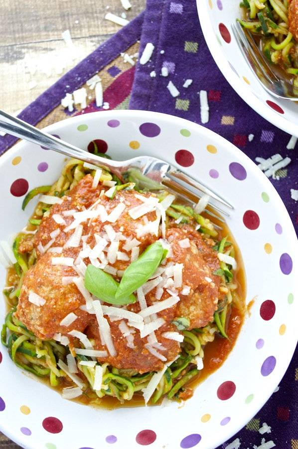 Meatballs over Zucchini Noodles