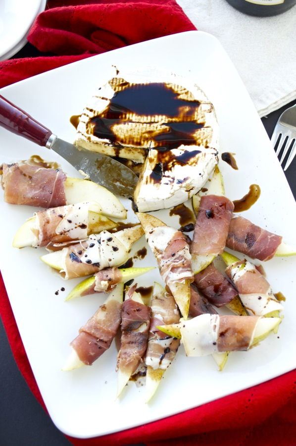 Prosciutto Wrapped Pears and Baked Brie