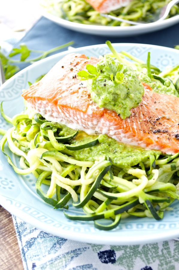 Salmon with pea pesto fashionable foods for Pesto fish recipes