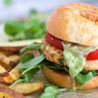Salmon Burgers {with Basil Green Goddess Dressing}