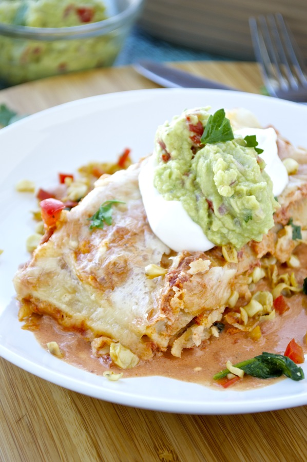 Corn and Spinach Enchiladas