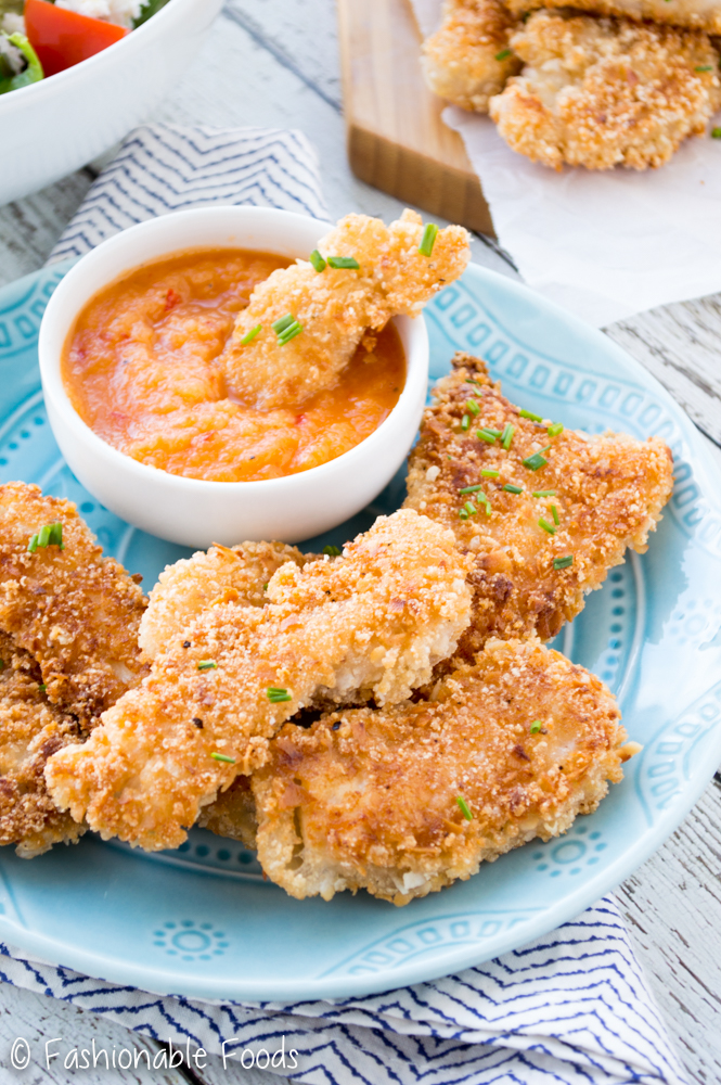 Crispy Coconut Crusted Chicken Tenders with Sauce