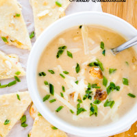 Roasted Cauliflower Soup {with Cheese Quesadillas}