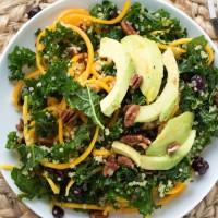Spiralized Butternut Squash, Kale, and Quinoa Salad {with Sriracha Vinaigrette}