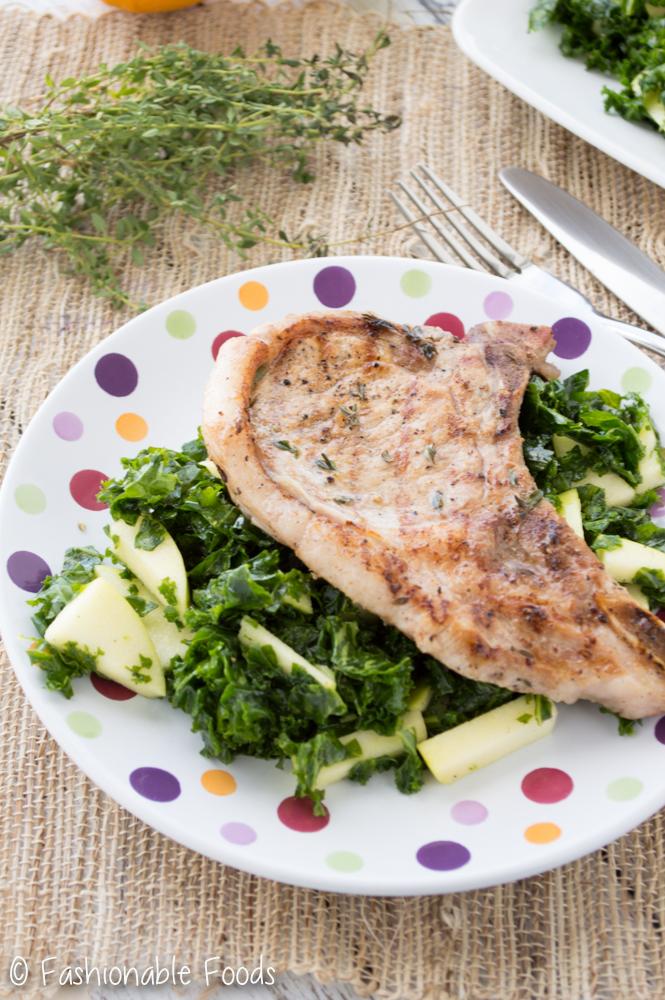 Grilled Pork Chops with Apple Kale Salad