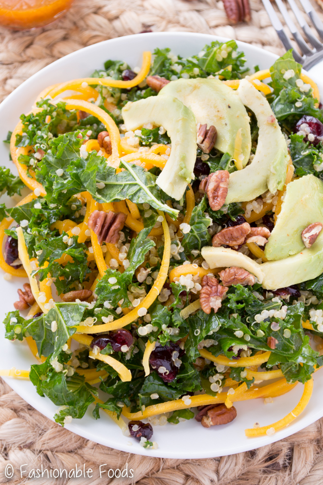Spiralized Butternut Squash Salad with Kale and Quinoa