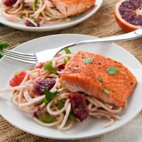 Sriracha Glazed Salmon with Spiralized Celery Root Salad