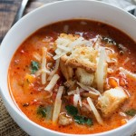 Creamy Sausage and Pepper Soup {with Garlic Herb Croutons}