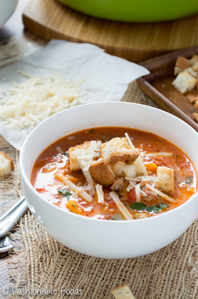 Sausage Pepper Soup with Garlic Herb Croutons