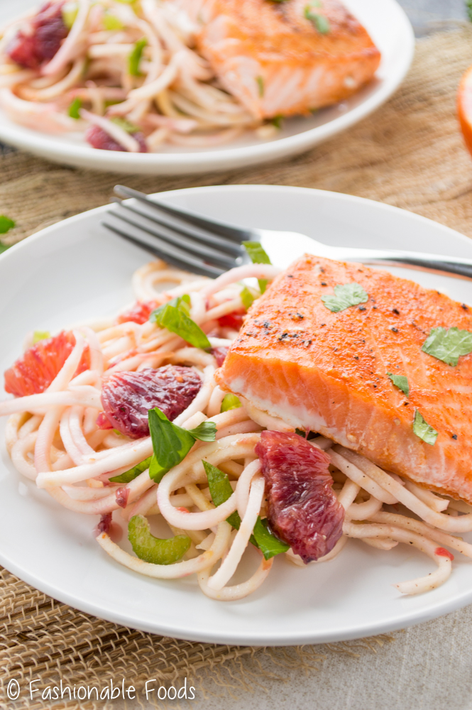 Sriracha Honey Salmon with Spiralized Celery Root Salad