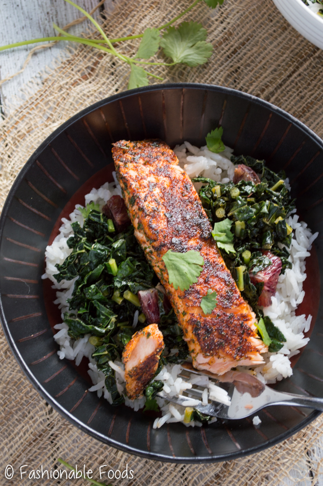 Blackened Salmon with Kale and Rice