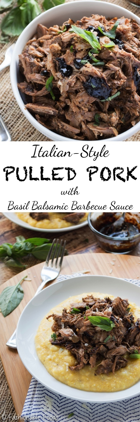 Italian Style Pulled Pork with Basil Balsamic Barbecue Sauce
