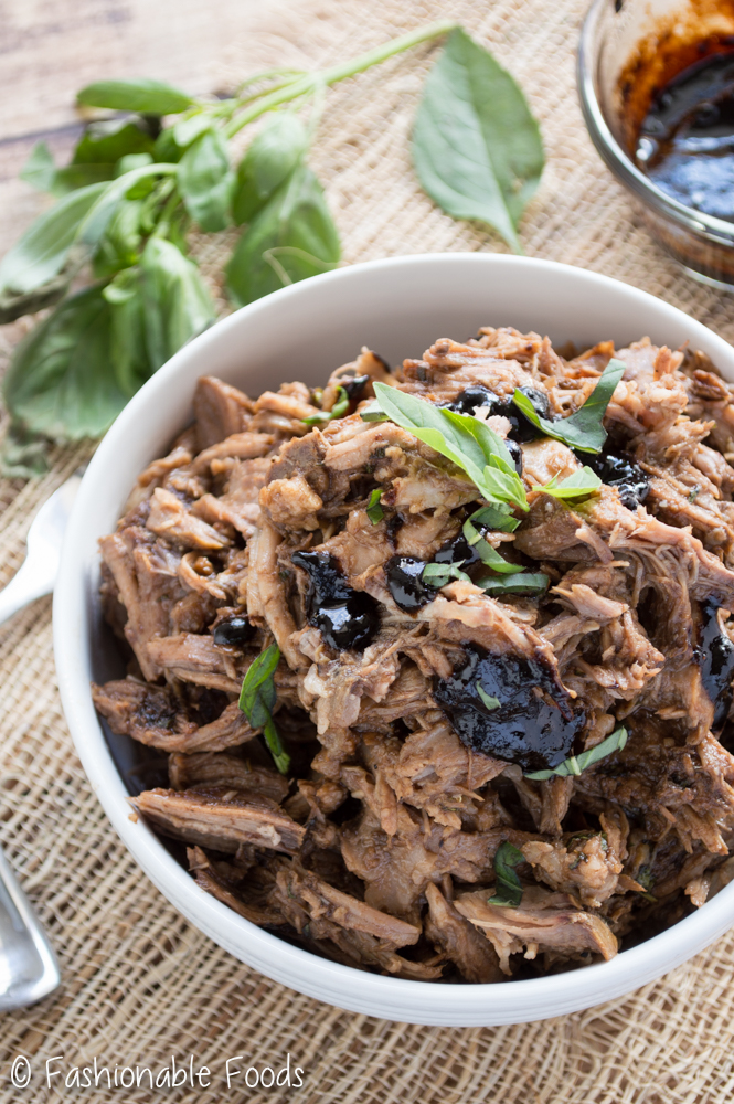 Italian Style Pulled Pork with Basil-Balsamic Barbecue Sauce