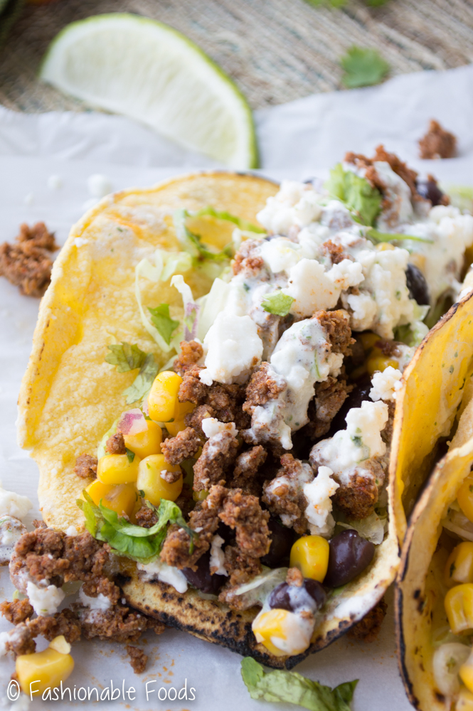 Chorizo Taco with Black Bean Corn Salsa and Cilantro Lime Crema