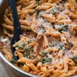 Penne with Sun Dried Tomato Cream Sauce and Spinach