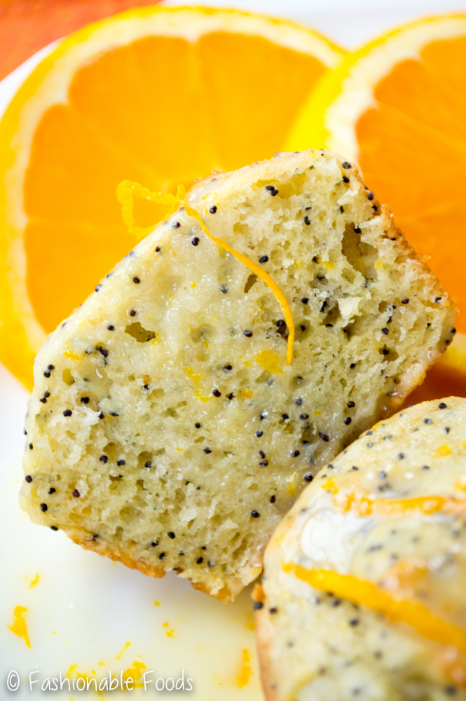 Orange Poppy Seed Muffin and Orange Yogurt Glaze