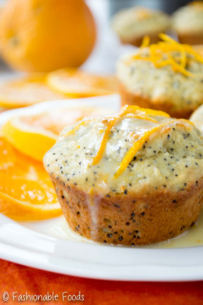 Orange Poppy Seed Muffin with Orange Yogurt Glaze