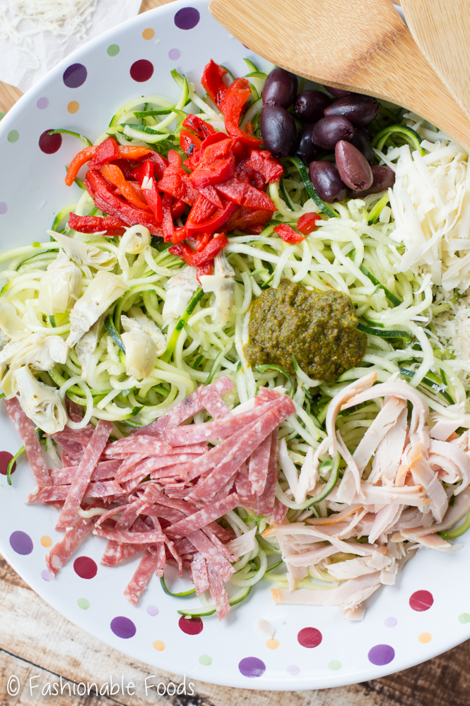 Zucchini Noodles and Cucumber Antipasto Salad
