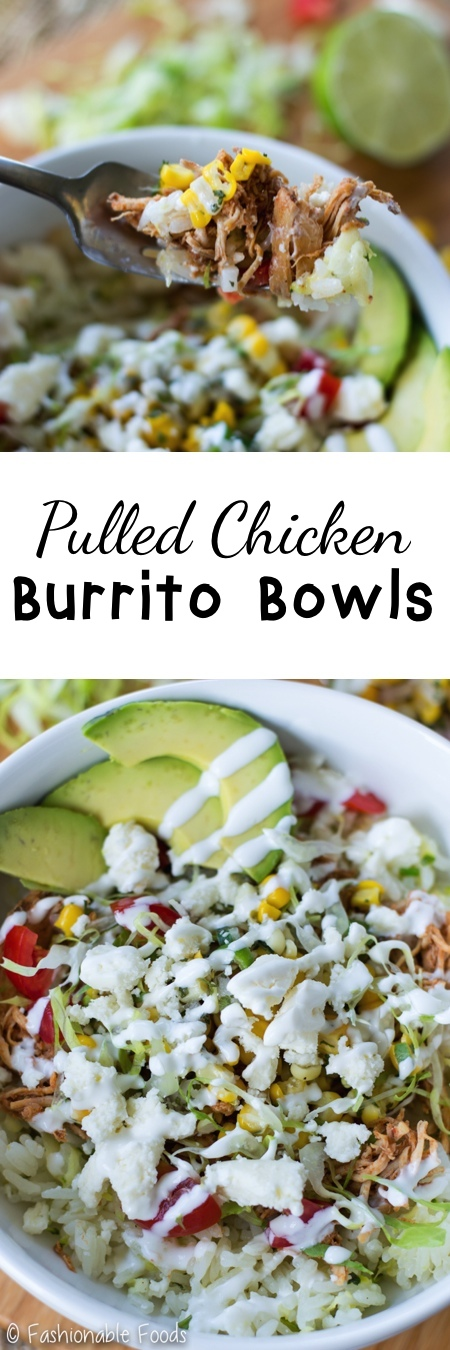 Pulled Chicken Burrito Bowls Pin