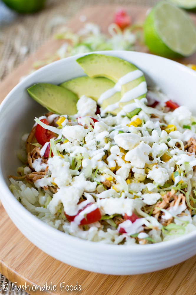 Pulled Chicken Burrito Bowls
