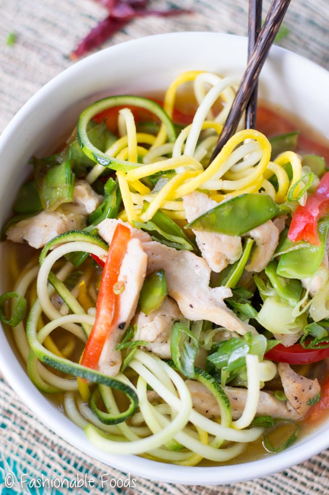 Spicy Thai Chicken Zoodle Bowls