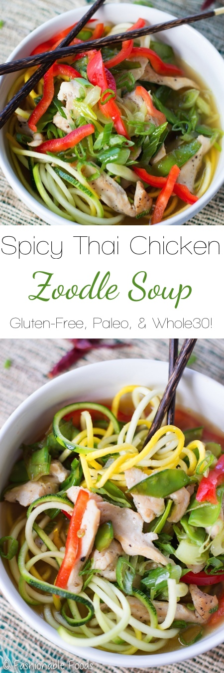 Spicy Thai Chicken Zoodle Soup Pin