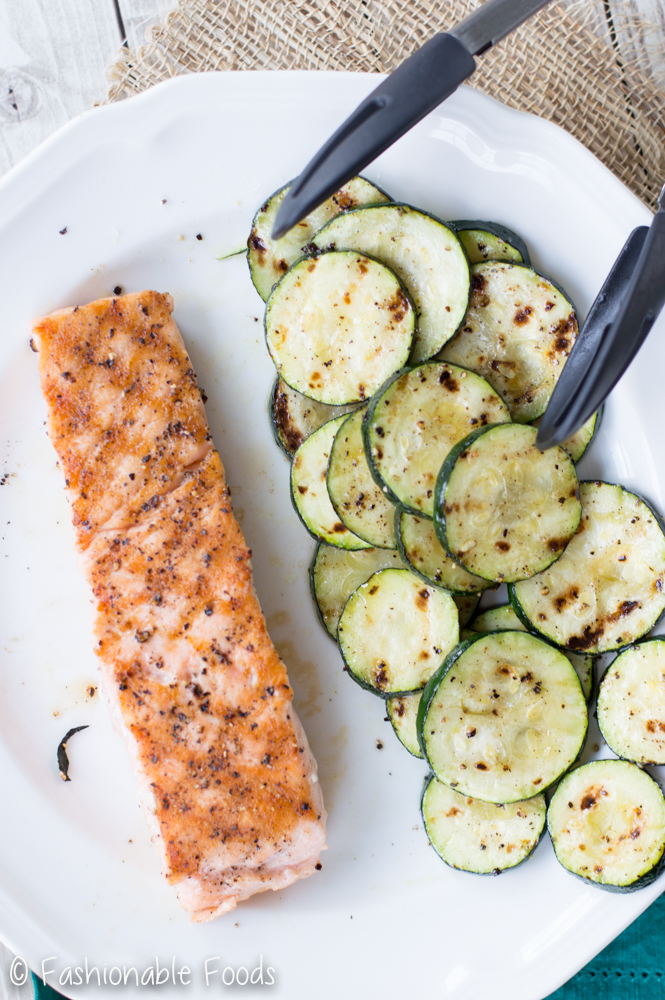 Grilled Salmon and Zucchini