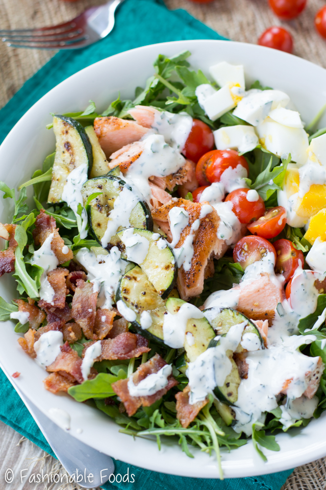 Whole30 Salmon Cobb Salad with Ranch