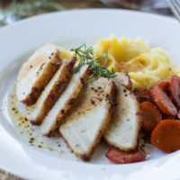 Apple Glazed Pork Tenderloin and Carrots {with Roasted Garlic Mashed Potatoes}