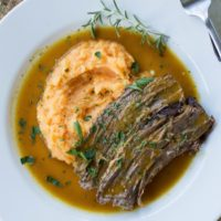 Slow Cooker Paleo Pot Roast {with Mashed Sweet Potatoes}