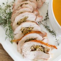 Apple, Bacon, and Brussels Sprout Stuffed Turkey Breast {with Vegetable Gravy}