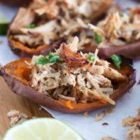 Slow Cooker Pork Carnitas {in Sweet Potato Skins}