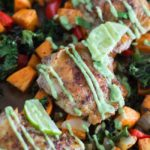 Sheet Pan Southwest Chicken Thighs and Vegetables {with Avocado Aioli}
