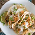 Slow Cooker Buffalo Chicken Tacos {with Cabbage-Celery Slaw & Gorgonzola Crema}