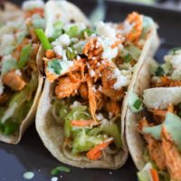 Slow Cooker Buffalo Chicken Tacos {with Celery Slaw & Cilantro-Yogurt Ranch}