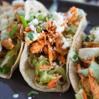 Slow Cooker Buffalo Chicken Tacos {with Celery Slaw & Cilantro-Yogurt Ranch}