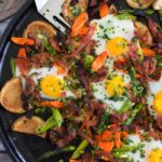 Spring Vegetable and Ham Hash {with Mixed Herb Gremolata}