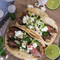 Flank Steak Tacos {with Cilantro Chimichurri & Cucumber-Radish Salsa}