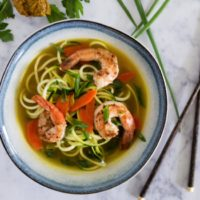 20 Minute Curry Zoodle Soup with Shrimp