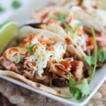 Chipotle BBQ Pulled Pork Tacos {with Cilantro Lime Coleslaw}