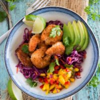 Coconut Shrimp Taco Bowls {with Cilantro-Lime Red Cabbage Slaw & Mango Salsa}
