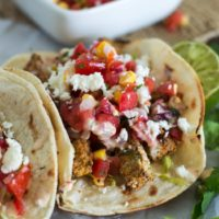 Crispy Zucchini Tacos {with Roasted Corn Pico de Gallo & Chipotle Aioli}