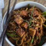 Crispy Tofu and Vegetable Teriyaki Noodle Bowls