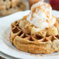 Cinnamon Apple Pie Waffles {with Caramel Swirl Whipped Cream}