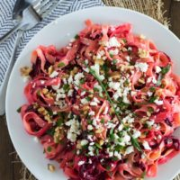 Fettuccine with Roasted Spiralized Red Beets, Walnuts, and Feta