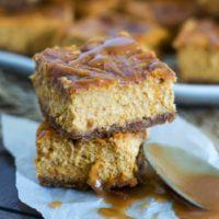 Caramel Swirl Pumpkin Cheesecake Bars