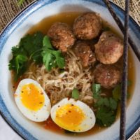 Spicy Miso Ramen with Turkey Meatballs